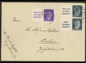 Dt. Reich, W 151 PF I + 2 Zd., Plattenf., Fern-Brief, Mi.-Handb. 95,- (18805)