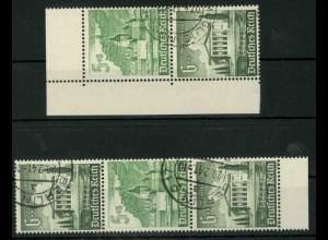 Dt. Reich, S 258 + S 261 KV, Klischee-Verschiebung, gestempelt (18912)