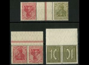 Dt. Reich, K 3, 5, KZ 6, verzähnt, postfr., Mi.-Handbuch 50,- + 30-50 % (19093)
