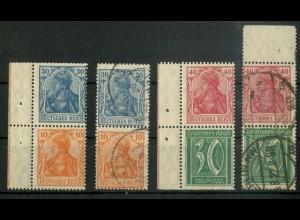 Dt. Reich, S 17 + S 29 VZ (je 2), verzähnt, postfrisch + gestempelt (19106)
