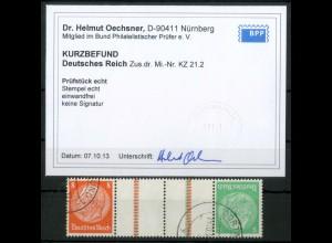 Dt. Reich, KZ 21.2, gestempelt, Befund BPP, ungeknickt, Mi. 180,- (19327)