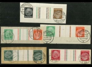 Dt. Reich, KZ 20 - KZ 23 + KZ 21.2, Briefstücke, ungeknickt, Mi. 240,- (19340)