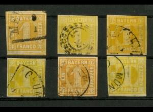 Bayern, Mi. 8 (6), gestempelt, versch. Farben, Mi. 180,- (19348)