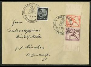 Dt. Reich, Bl S 7, portogerechter Fern-Brief, Mi.-Handbuch 1000,- (19365)