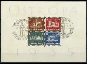 Dt. Reich Bl. 3, seltener weißer Block, gest., gepr. BPP, Mi. 1100,- (19463)