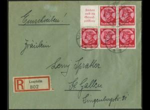 Dt. Reich, HBl. 75, Einzelfrankatur, Auslands-R-Brief, Mi. 170,- (19547)