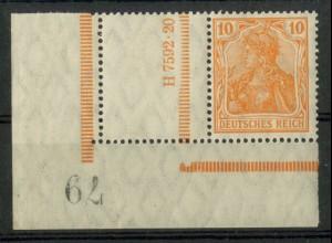 Dt. Reich, RL 1 EUL, mit Bogennummerator, postfrisch, Mi. 180,- ++ (19554)