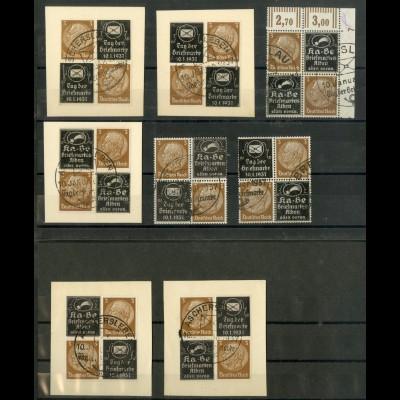 Dt. Reich, P-V 1-8, Viererblocks gest., ungeknickt, Mi.-Handbuch 600,- (19603)
