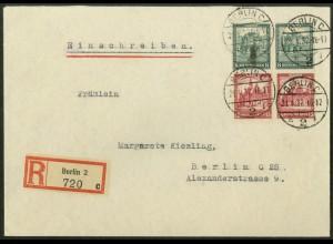 Dt. Reich, S 88 (2), Mehrfachfrankatur auf Orts-R-Brief, Mi. 45,- (19608)