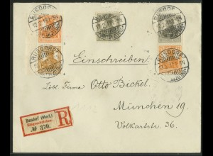 Dt. Reich, S 7 + S 11, portogerechter R-Brief, geprüft Infla, Mi. 400,- (19609)