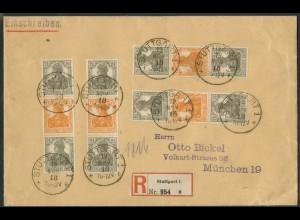 Dt. Reich, S 12 (4), Mehrfachfrank. auf R-Brief, geprüft Infla, Mi. 105,-(19610)
