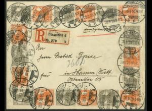 Dt. Reich, S 12 (3) + S 14 (3), portogerecht auf R-Brief, Mi. 155,- ++ (19611)