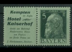 Bayern, W 1.24, postfrisch, vollständige Zähnung, Mi. 90,- (19628)