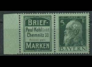 Bayern, W 1.30, postfrisch, vollständige Zähnung, Mi. 70,- (19633)
