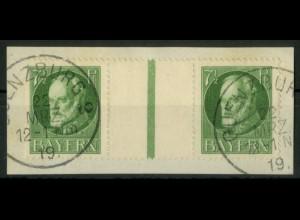 Bayern, WZ 7, Briefstück, ungeknickt, sauber entwertet, Mi. 90,- (19666)