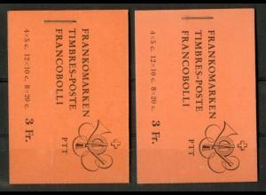 Schweiz, MH 0-45 x (2), Reklamen h + i, postfrisch, Mi. 84,-, SBK 130,- (50110)
