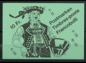 Schweiz, MH 0-80, Deckel grün, 10 Fr., postfrisch, Mi. 30,- (50179)
